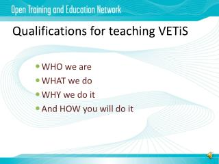 Qualifications for teaching VETiS