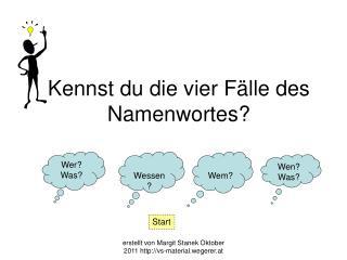 Kennst du die vier Fälle des Namenwortes?