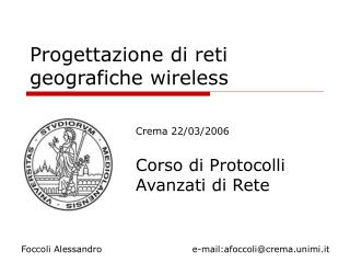 Progettazione di reti geografiche wireless