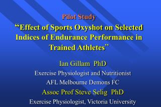 Ian Gillam  PhD Exercise Physiologist and Nutritionist AFL Melbourne Demons FC