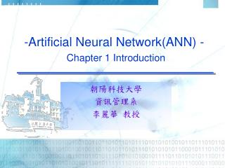-Artificial Neural Network(ANN) - Chapter 1 Introduction