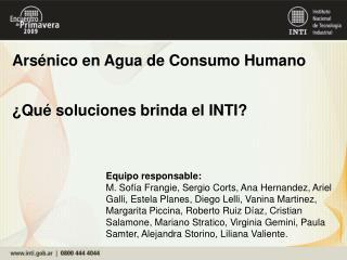 Arsénico en Agua de Consumo Humano ¿Qué soluciones brinda el INTI?