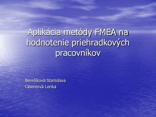 Aplikácia metódy FMEA na hodnotenie priehradkových pracovníkov