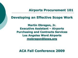 Airports Procurement 101