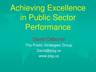 Achieving Excellence in Public Sector Performance