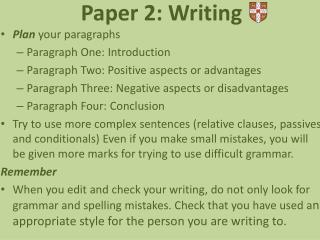Paper  2:  Writing