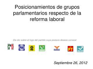 Posicionamientos de grupos parlamentarios respecto de la reforma laboral