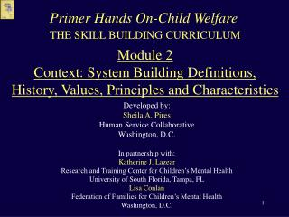 THE SKILL BUILDING CURRICULUM  Module 2 Context: System Building Definitions, History, Values, Principles and Characteri