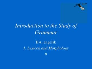 Introduction to the Study of Grammar