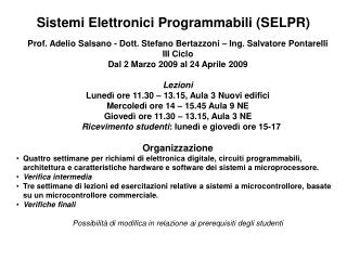 Sistemi Elettronici Programmabili SELPR