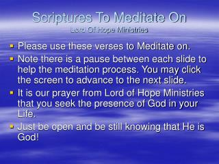 Scriptures To Meditate On Lord Of Hope Ministries