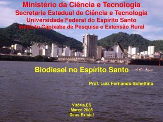 Biodiesel no Espírito Santo Prof. Luiz Fernando Schettino Vitória,ES Março 2005 Deus Existe!