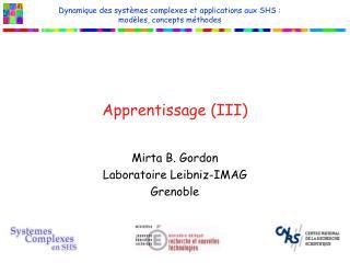 Apprentissage (III)