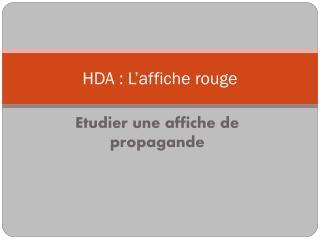HDA : L'affiche rouge