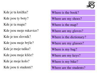 Kde je ta knížka? Kde jsou ty boty? Kde je ta mapa? Kde jsou moje rukavice? Kde je ten slovník?