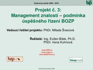 Vedoucí řešitel projektu:  PhDr. Milada Švecová