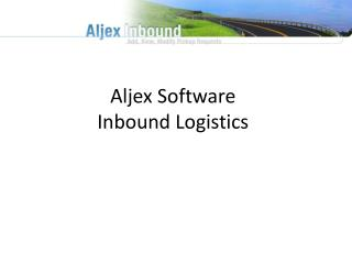 Aljex Software   Inbound Logistics