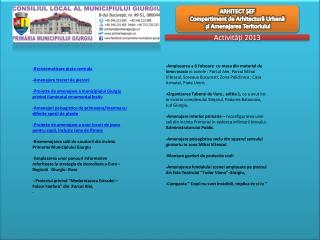 ARHITECT ȘEF Compartiment de Arhitectură Urbană și Amenajarea Teritoriului