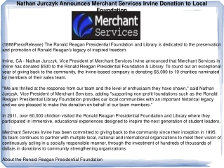Nathan Jurczyk Announces Merchant Services Irvine Donation t