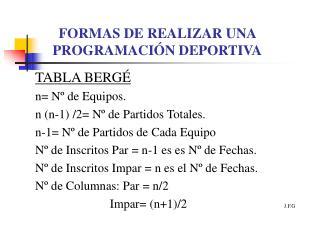 FORMAS DE REALIZAR UNA PROGRAMACIÓN DEPORTIVA