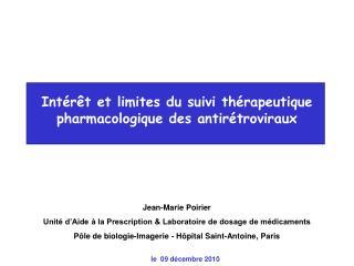 Int r t et limites du suivi th rapeutique pharmacologique des antir troviraux