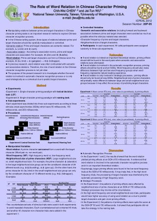 The Role of Word Relation in Chinese Character Priming Chih-Wei CHEN 1, 2  and Jei-Tun WU 1, *