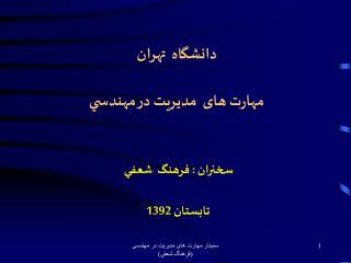 دانشگاه  تهران مهارت های  مديريت در مهندسي