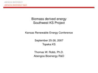 Biomass derived energy Southwest KS Project