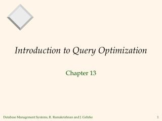 Introduction to Query Optimization