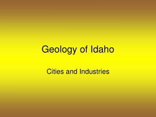 Geology of Idaho