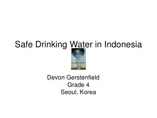 Safe Drinking Water in Indonesia