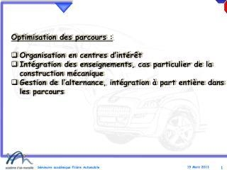 Optimisation des parcours : Organisation en centres d'intérêt