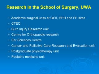 Research in the School of Surgery, UWA