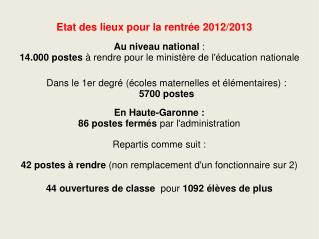 Etat des lieux pour la rentrée 2012/2013