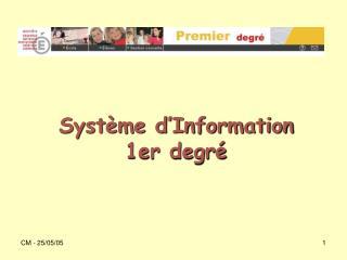Système d'Information 1er degré