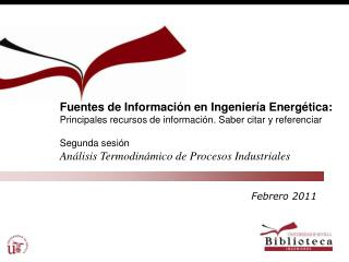 Fuentes de Información en Ingeniería Energética: