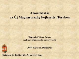 A közoktatás az Új Magyarország Fejlesztési Tervben