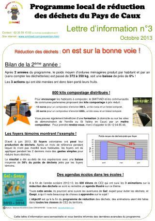 Lettre d'information n°3 Octobre 2013