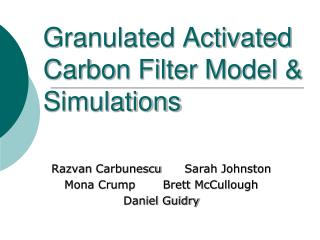 Granulated Activated Carbon Filter Model & Simulations