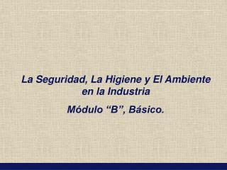 """La Seguridad, La Higiene y El Ambiente en la Industria Módulo """"B"""", Básico."""