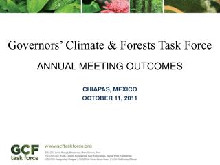 Governors' Climate &  Forests  Task  Force Annual Meeting outcomes Chiapas, Mexico