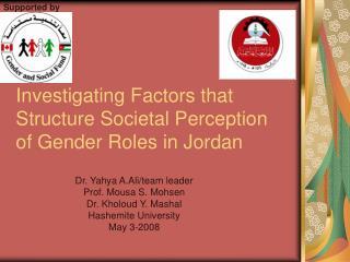 Investigating Factors that Structure Societal Perception of Gender Roles in Jordan