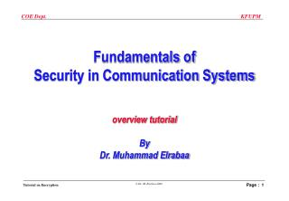 Fundamentals of Security in Communication Systems overview tutorial By Dr. Muhammad Elrabaa