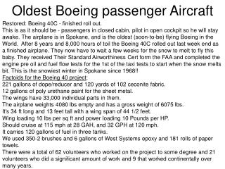 Oldest Boeing passenger Aircraft