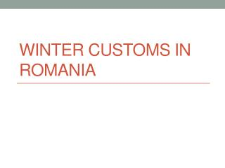 Winter customs in Romania