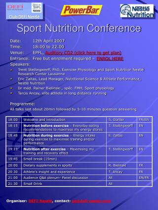 Sport Nutrition Conference