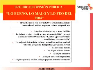 """ESTUDIO DE OPINIÓN PÚBLICA: """"LO BUENO, LO MALO Y LO FEO DEL 2004"""""""