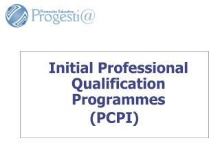 Initial Professional Qualification Programmes (PCPI)