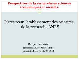 Perspectives de la recherche en sciences �conomiques et sociales.