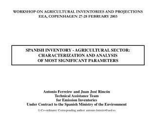 Antonio Ferreiro 1  and Juan Jos� Rinc�n Technical Assistance Team for Emission Inventories